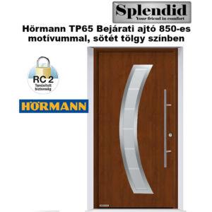 Hörmann bejárati ajtó  TP65 850 motívummal sötét tölgy színben